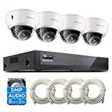 ONWOTE 5MP 8CH PoE Home Security Camera System with Audio, Vandal-Proof Dome, (4) Outdoor 5MP PoE IP Cameras, 100ft IR Night, 8 Channel 5MP H.265 NVR 2TB HDD, Add 4 More Cameras, Remote Monitoring