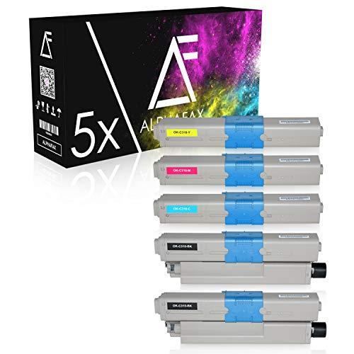 5 Toner kompatibel zu Oki C310dn, C330DN, C331DN, C510DN, C511DN, C530DN, MC351DN, MC361DN, MC561DN, MC562DN - Schwarz je 3.500 Seiten, Color je 2.000 Seiten