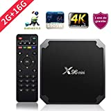 SUNNZO X96mini Android 9.0 TV Box con procesador Amlogic S905W Quad Core de 64 bits 2GB RAM+16GB ROM,WiFi,4K HD,H.265(2+16GB)
