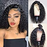 Curly Lace Front Wigs Human Hair with Baby Hair Short Curly Human Hair Wigs for Black Women Natural Color 8 inches