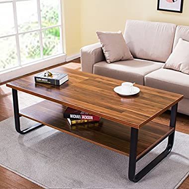 "Tribesigns Modern 47"" Coffee Table with Lower Storage Shelf for Living Room, Black Metal Frame"