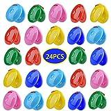 Cozyhoma 24 unids Castañuelas dedo Castañuelas a granel colorido brillante niños ritmo musical percusión instrumento juguete educativo juego para bebé niños niños