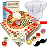 Wooden Pizza Toy for Kids Pizza Play Food Set - Wooden Play Food Sets for Kids with Chef hat (121...