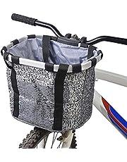 GXZOCK Fietsmand voor, opvouwbaar, waterdicht, gemakkelijk te installeren, afneembare stuurmand, tas voor kleine hond, picknick, winkelen
