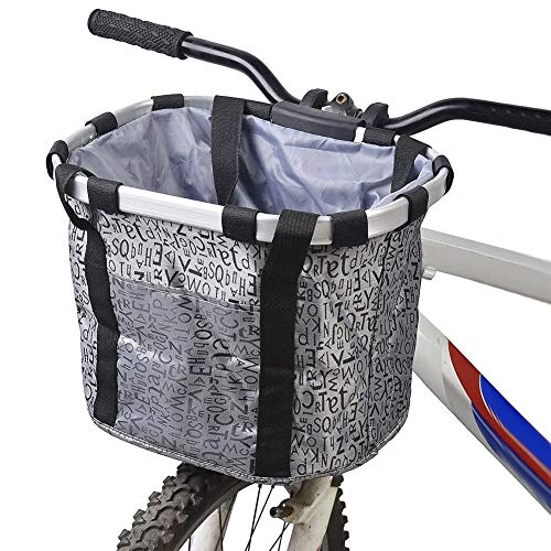 GXZOCK Fahrradkorb Vorne, Faltbar Wasserdicht Fahrrad Lenkerkorb, Easy Install Abnehmbare Lenkerkorb Tasche für Kleiner Hund, Picknick, Einkaufen - Grau