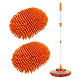 2 in 1 Chenille Microfiber Car Wash Brush Kits Mop Mitt with 45' Long Handle (Aluminum Alloy), Car Cleaning Kit Supplies Brush Duster, Scratch Free Cleaning Tool for Washing Truck, Car, RV (Orange)