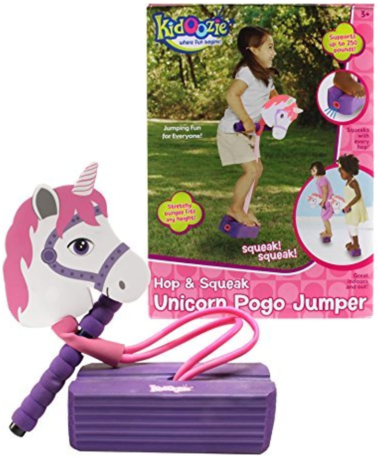 Kidoozie Foam Unicorn Pogo Jumper  Fun and Safe Play  Encourages an Active Lifestyle  Makes Squeaky Sounds  For All Sizes, 250 Pound Capacity by Kidoozie