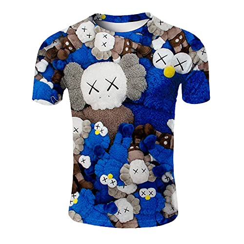 ASHGNV Street Bear Pattern Camiseta para Hombre con Estampado en 3D, Camisetas Informales de Verano de Secado rápido, Novedad, Camiseta de Manga Corta-XL