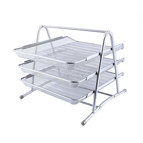 Wakects Organizador de documentos, de metal de tres capas con diseño hueco, bandeja de malla metálica, organizador de cesta, 36 x 31 x 26,4 cm, color plateado