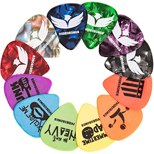 "iVideosongs Guitar Picks Sampler, 12 Pack + 150 Free Online Guitar Lessons • Variety Pack of 12""Pickatudes"" Celluloid & Delrin Guitar Picks"