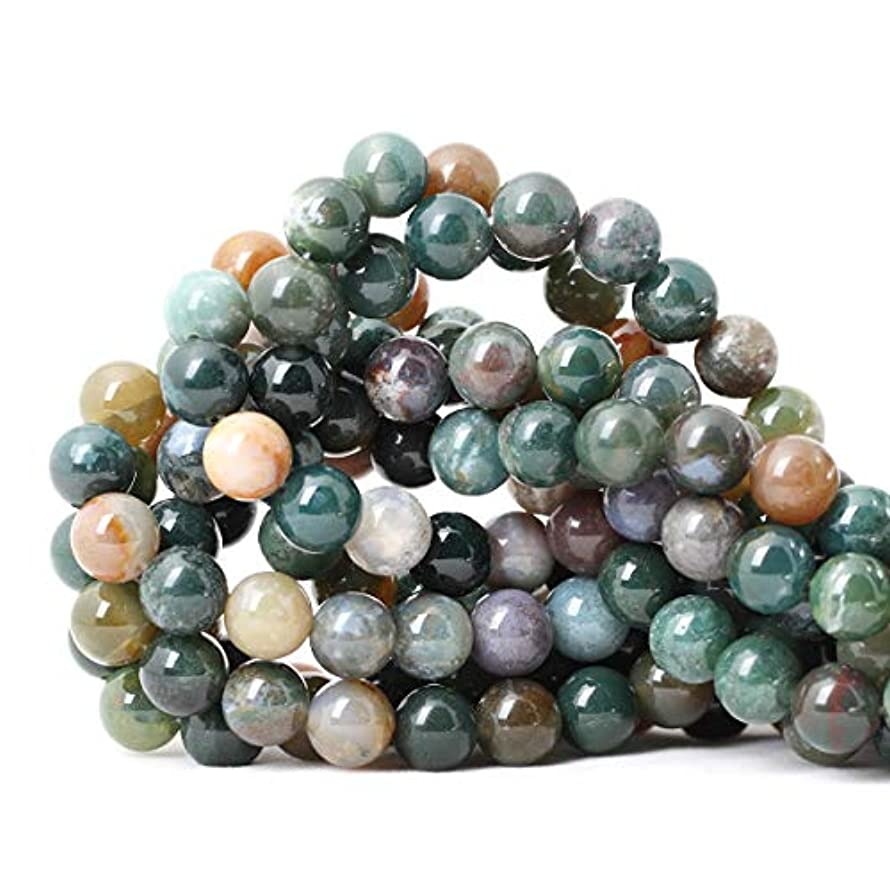 CHEAVIAN 35PCS 10mm Natural Indian Agate Gemstone Round Loose Beads for Jewelry Making DIY 1 Strand 15