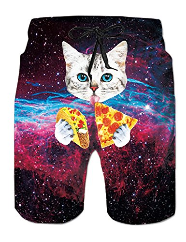 AIDEAONE Herren Badehose Galaxy Sommer Badeshorts Katze Strand Surf Shorts L