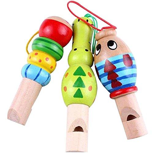 dontdo Juguetes musicales de madera del bebé silbato de animales de dibujos animados de madera instrumento de música educativo juguete bebé niño favor