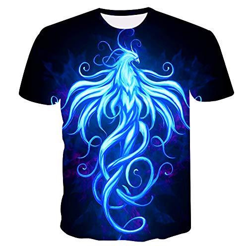 T-Shirt Männer 3D Phoenix Gedruckt Sommer Kurzarm Club Street Unisex Paar Teenager Beiläufige Halbe Hülse Tees Jugendurlaub Strand Hip Hop Sport, M