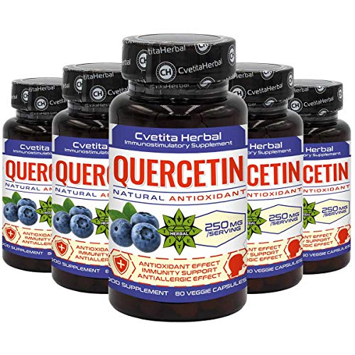 Quercetin | 400 Vegetarian Capsules x 250 mg (1 Year and 1 Month Supply) | Sophora Japonica Extract | High Absorbtion | Healthy Cardiovascular System | Anti-Allergic Product by Cvetita Herbal (5)