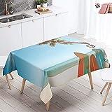 Manteles de Mesa Mantel, Morbuy Rectangular Impresión 3D Mar Ola Impermeable Antimanchas Lavable Manteles para Cocina o Salón Comedor Decoración del Hogar (Beige Playa,140x180cm)