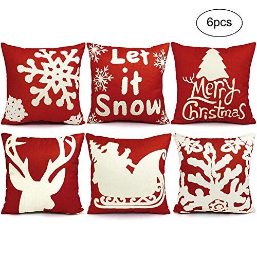 6PCS Federe per cuscini natalizi, 18 x 18 decorazioni natalizie Fodere per cuscini, federe per cuscini decorativi natalizi, decorazioni per interni per interni per divani