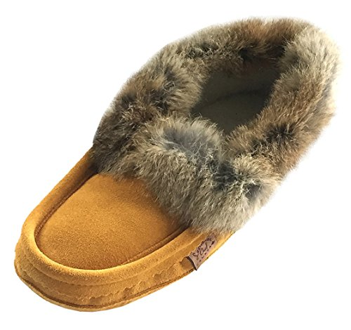 Laurentian Chief Men's Suede with Rabbit Fur Collar Soft Sole Moccasin Slippers (8) Tan