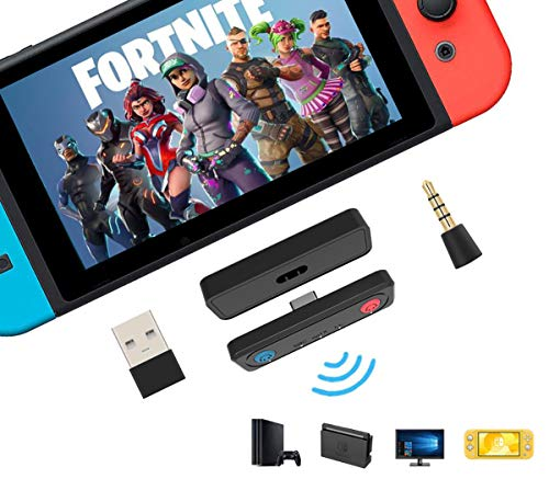 PURBHE Switch Bluetooth Adapter for PS4, PC, Nintendo Switch Lite Bluetooth Adapter, Support Dual Stream-Two Sound and Mic Speak. APTX Technology Supply Low Lag and Quality Voice for Switch Adapter