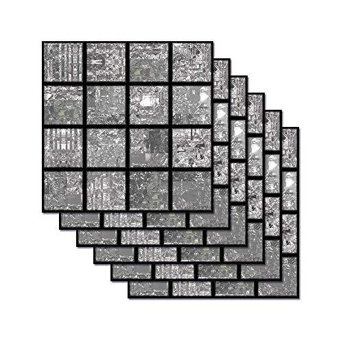 Hiser Rectángulo Adhesivos Decorativos Azulejos Pegatinas para Baldosas del Baño, Mármol 3D Mosaico Estilo Cocina Resistente al Agua Pegatina de Pared, 20x20cm (Antracita Mosaico)