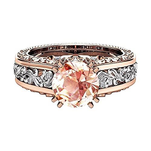 minjiSF Anillo de diamante hueco para mujer, clásico, único, elegante, de alta calidad, anillo de compromiso, anillo de compromiso (oro, 7)