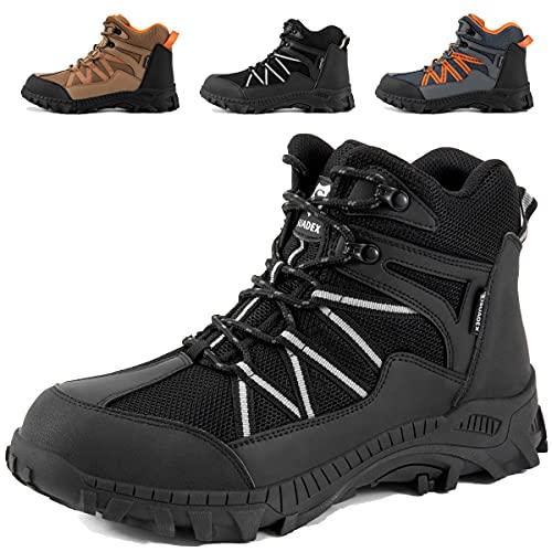 SUADEX Steel Toe Boots for Men Work Construction Boots Composite Toe Work Boots for Men Indestructible Steel Toe Safety Work Boots for Men