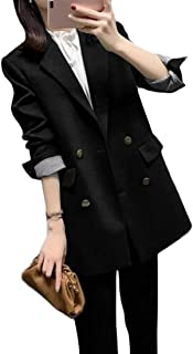 Yeirui Women Plain Formal Double Size Plus Breasted Business Work Blazer Jacket Suit Coat