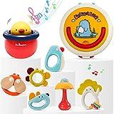 Sonajero con sonajero para bebés de 0 a 6 meses, juguete sensorial con caja de almacenamiento, juguete de aprendizaje temprano para niños de 3, 6, 9 y 12 meses
