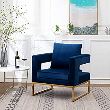 Roundhill Furniture Lenola Upholstered Accent Arm Chair, Blue