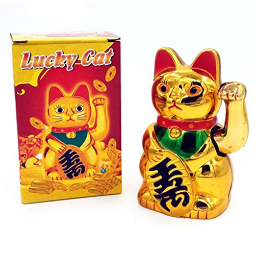 Goneryisour - Reloj despertador con diseño de gato de la suerte, color dorado