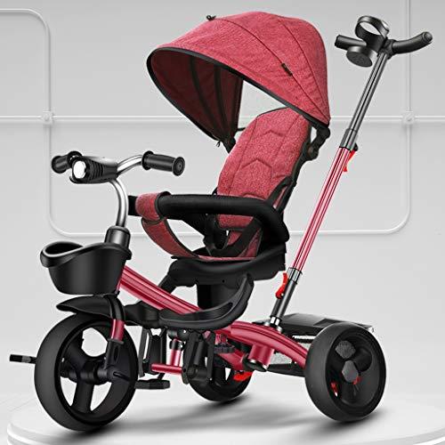 GCXLFJ Triciclo Bebe Infantil 4 En 1 Sombrilla Triciclo,1-6 Años De Edad Niño Al Aire Libre Triciclo,Ajustable con Asa Triciclo,4 Colores,Diseño De Freno Trasero (Color : Rosso)