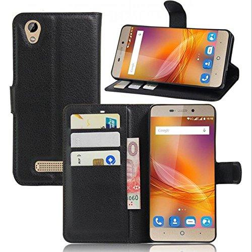 ECENCE Handy-Schutzhülle - Handytasche für ZTE Blade A452 Schwarz - Smarthone Case Cover stoßfest mit Kartenfach - Handycase mit Stand-Funktion 24040109