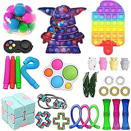 Fidget Toy Set, Simple Fidget Toy Anti Stress Spielzeug Set für Stress und Angst Abbauen, Fidget Toys Pack für Erwachsene Und Kinder Geschenke Das Dekompressions-Spielzeugset (A4)