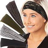 Hipsy Adjustable Cute Fashion Sports Headbands Xflex Wide Hairband for Women Girls & Teens (5pk Soft Black/Grey/Mini Camo/Olive/Charcoal Xflex)