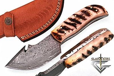 GladiatorsGuild 64 Custom Handmade Damascus Steel Skinner Hunting Knife Fixed Blade Small Skinning Knife with Gut Hook