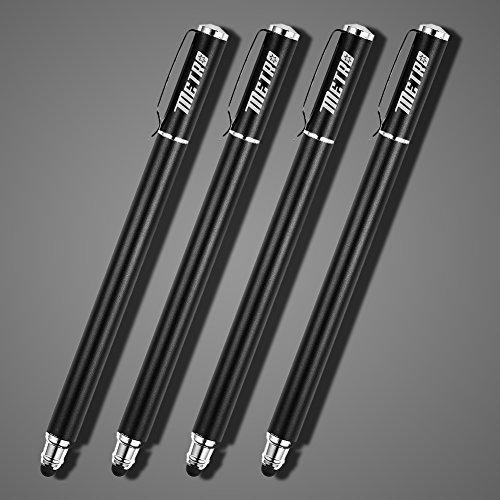METRO Eingabestift Smartphone Touchstift Touch Pen 4 Stücke 2 in 1 Premium Stift Stylus mit 20 X Ersatzspitzen für Iphone Ipad Samsung Galaxy Handy und Tablets (4*Schwarz)