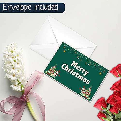 Vrolijke kerstwenskaart - pak van 50 platte kaarten Bulk Box Set, Horizontale oriëntatie gedrukt voor alleen gesorteerd voor alle vakanties Gelegenheid met envelop 5.5