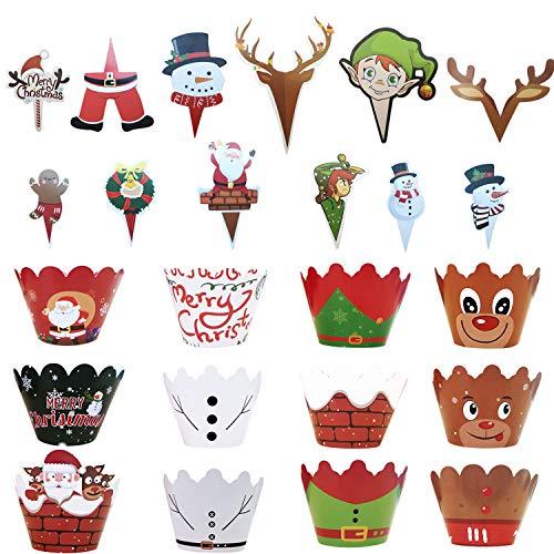 Uni-Fine 72 szt. Boże Narodzenie ozdoby do babeczek, 36 szt. świąteczne ozdoby do babeczek i 36 szt. świąteczne papierowe chusteczki do babeczek, DIY ciasta Święty Mikołaj elf bałwan renifer babeczka dekoracja