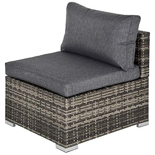 Outsunny Outdoor Garden Furniture Rattan Single Middle Sofa with Cushions for Backyard Porch Garden Poolside Deep Grey