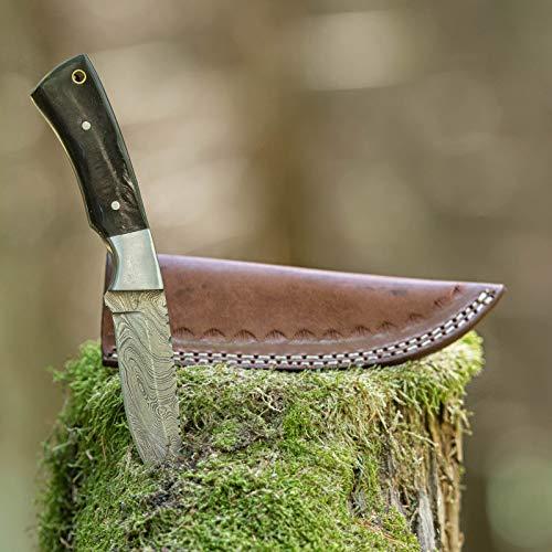 elToro Steel Horn - Damast - Jagdmesser - 10cm - inkl. Lederscheide; Messer für Camping, Outdoor, Survival, Wald und Forst