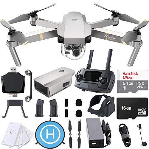 DJI Mavic Pro Platinum 4K Quadcopter Drone with SanDisk 64gb Card, Card Reader, Landing Gear Height Extender, Landing Pad Ultimate Starter Bundle Kit