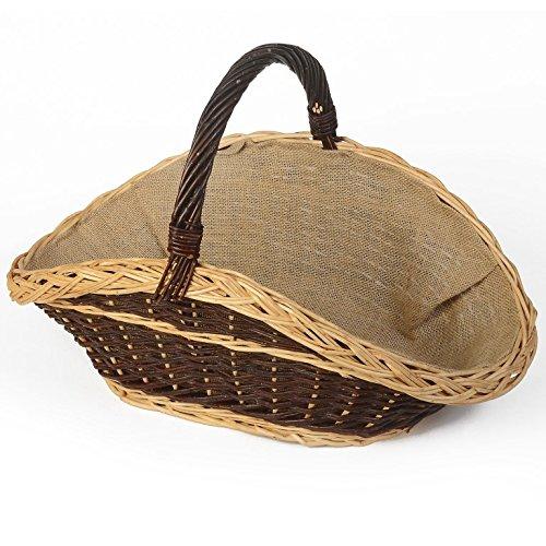 WEIDENPROFI Weidenkorb mit Jute, Holzkorb aus dunkler Weide, oval geschwungen mit Tragegriff, Größe ca. 55 x 35 cm, 30/35 cm hoch