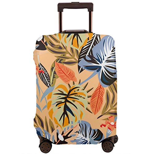 Pink Flamingo Pineapples And Exotic Leaves 18-21 inch Travel Luggage Cover Spandex Suitcase Protector Washable Baggage Covers