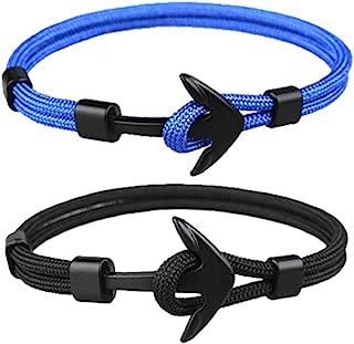 Monade Anchor Rope Bracelet for Men Unisex Handmade Nautical Waterproof Knot Sailing Bracelet Jewelry