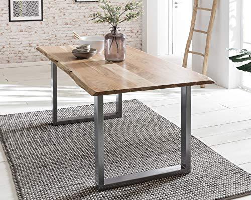 Baumkanten-Tisch Salito 120x80 cm | Esszimmertisch aus massiver Akazie | Baum-Tisch Natur | Metall U-Gestell in Silber