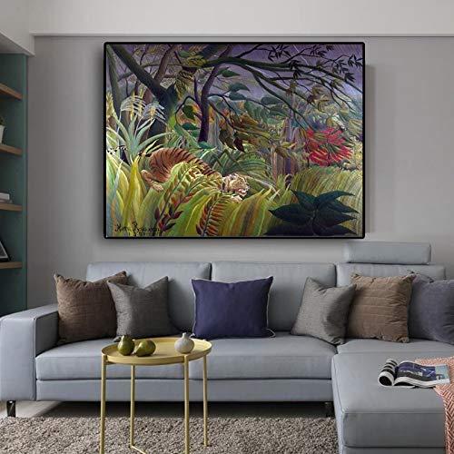 Abstracte schilder beroemde jungle tijger home art canvas schilderij frameloze schilderij 60x80cm