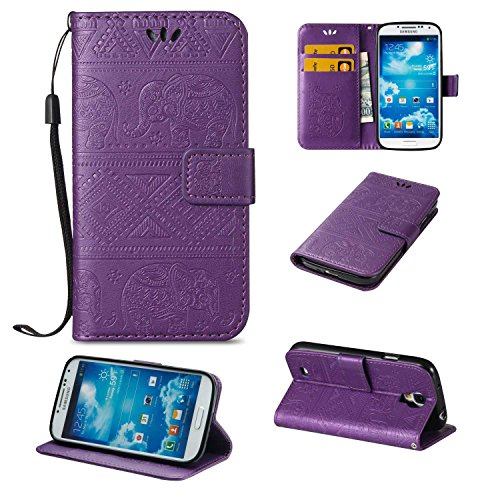 Guran® PU Ledertasche Case für Samsung Galaxy S4 Smartphone Flip Cover Wallet und Stent-Funktions Hülle Elefant geprägtes Muster Etui - Lila…