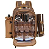 Kacsoo Mochila multifuncional para picnic para 4 personas con compartimento aislante, bolsa portátil para acampar al aire libre, incluye manta a prueba de fugas, soporte para vino
