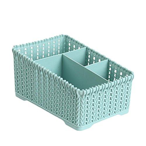 Wicemoon 4 Grid Sub-Grid Boîte de Rangement en Plastique Desktop Classification Organiseur Support étui de Rangement récipient de Panier pour télécommande Cosmétique Support, Plastique (Bleu)