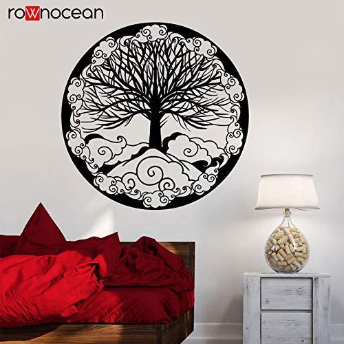 jiushivr Sonne wandaufkleber Kind Baum des Lebens Familie Symbol Dekoration Fantasie Leben Ring kabbala Vinyl PVC Selbstklebende wandaufkleber 114x114cm